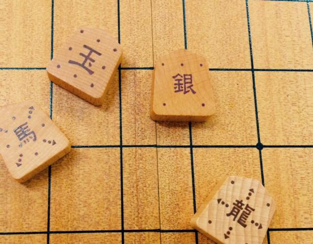 動き方の示された将棋駒。