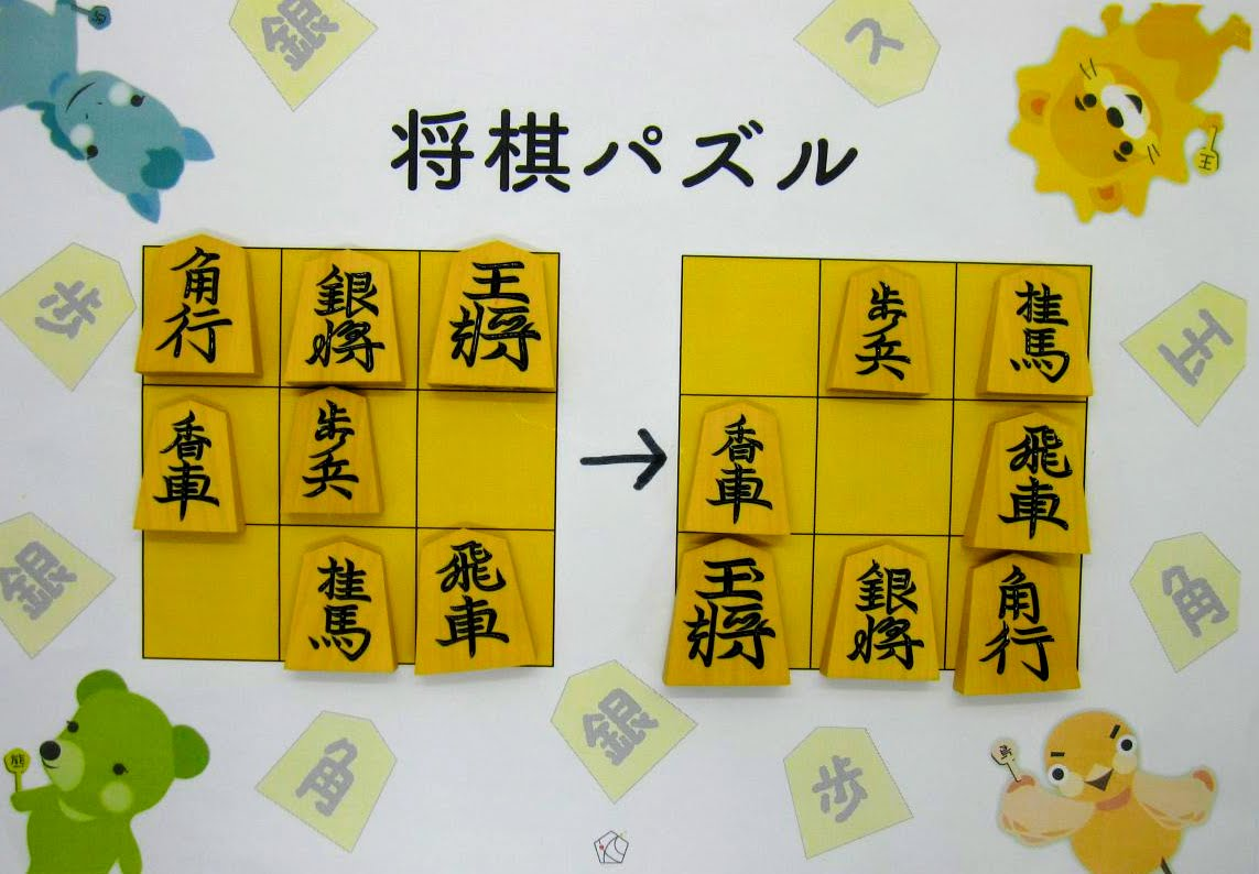 左図の将棋の駒を動かして右図と同じにしてみよう。