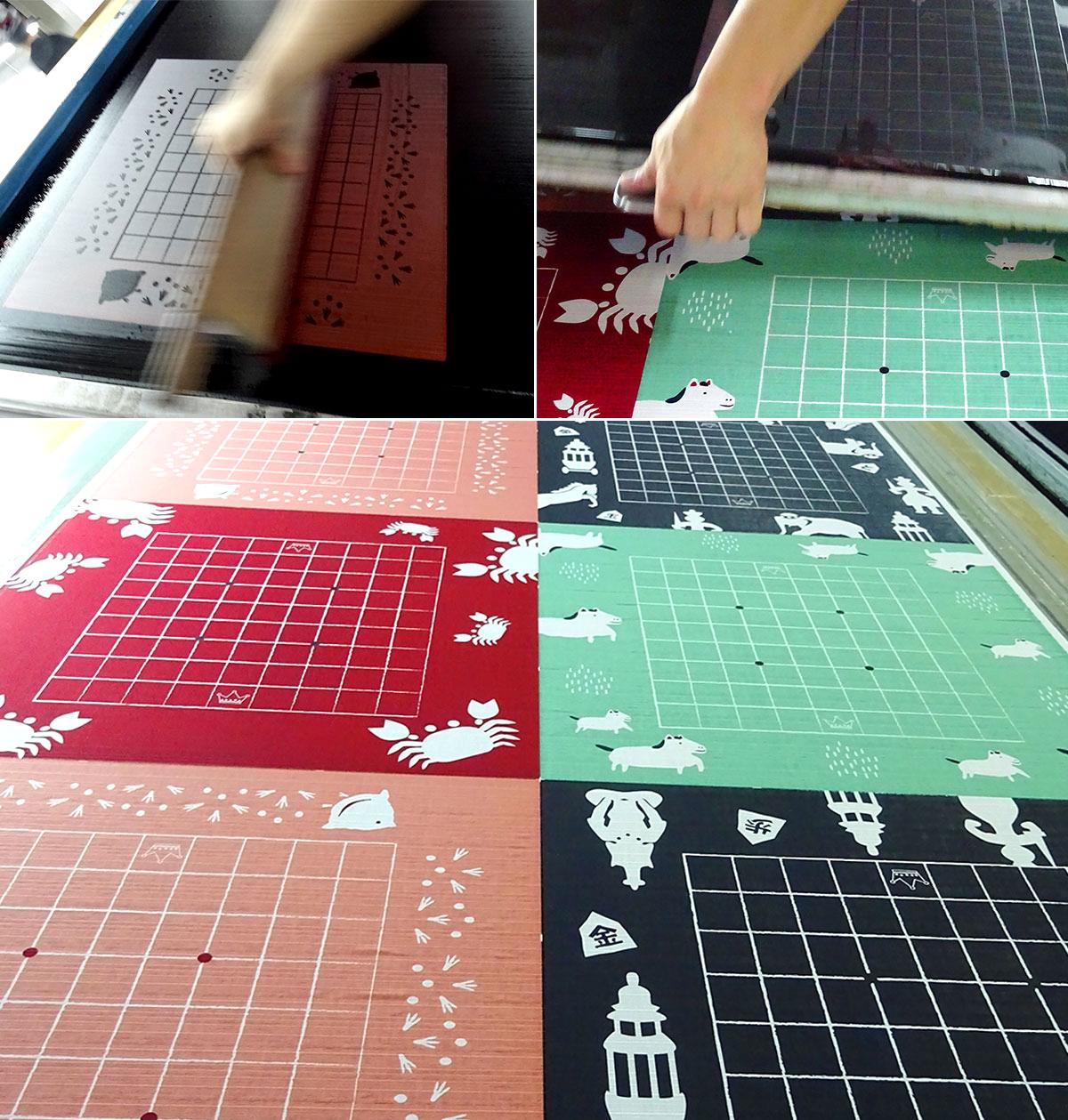 いつつの布製将棋盤「どこたま」の制作の様子