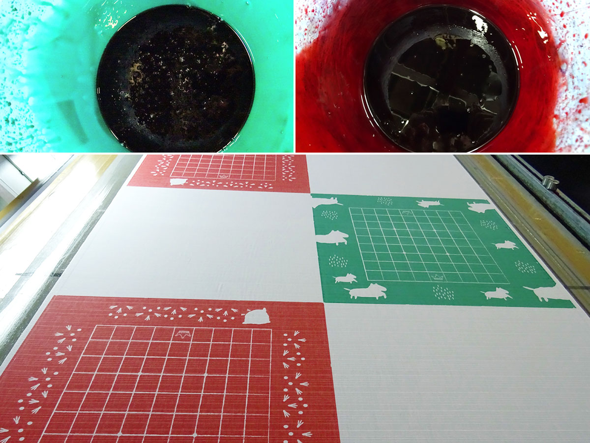 いつつの思いを表現した色で染められる布製将棋盤